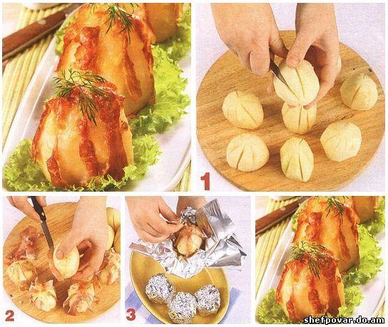 Картошка запеченная в фольге с сыром в духовке с фото